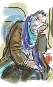 Tekening-Slapende man in trein-Annemieke Couzy 2017