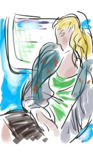 Tekening-Vrouw onderweg-Annemieke Couzy-2017